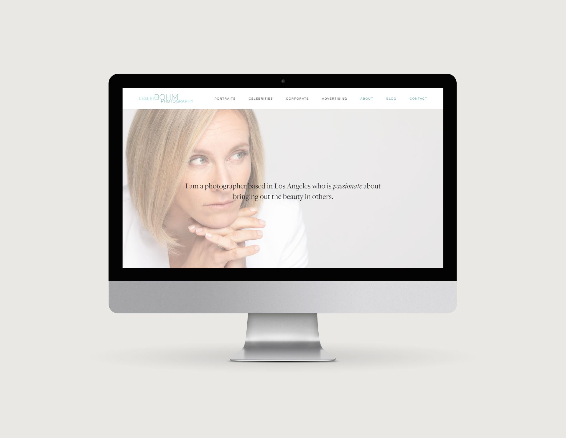 Lesley Bohm Photography Home Page on Desktop