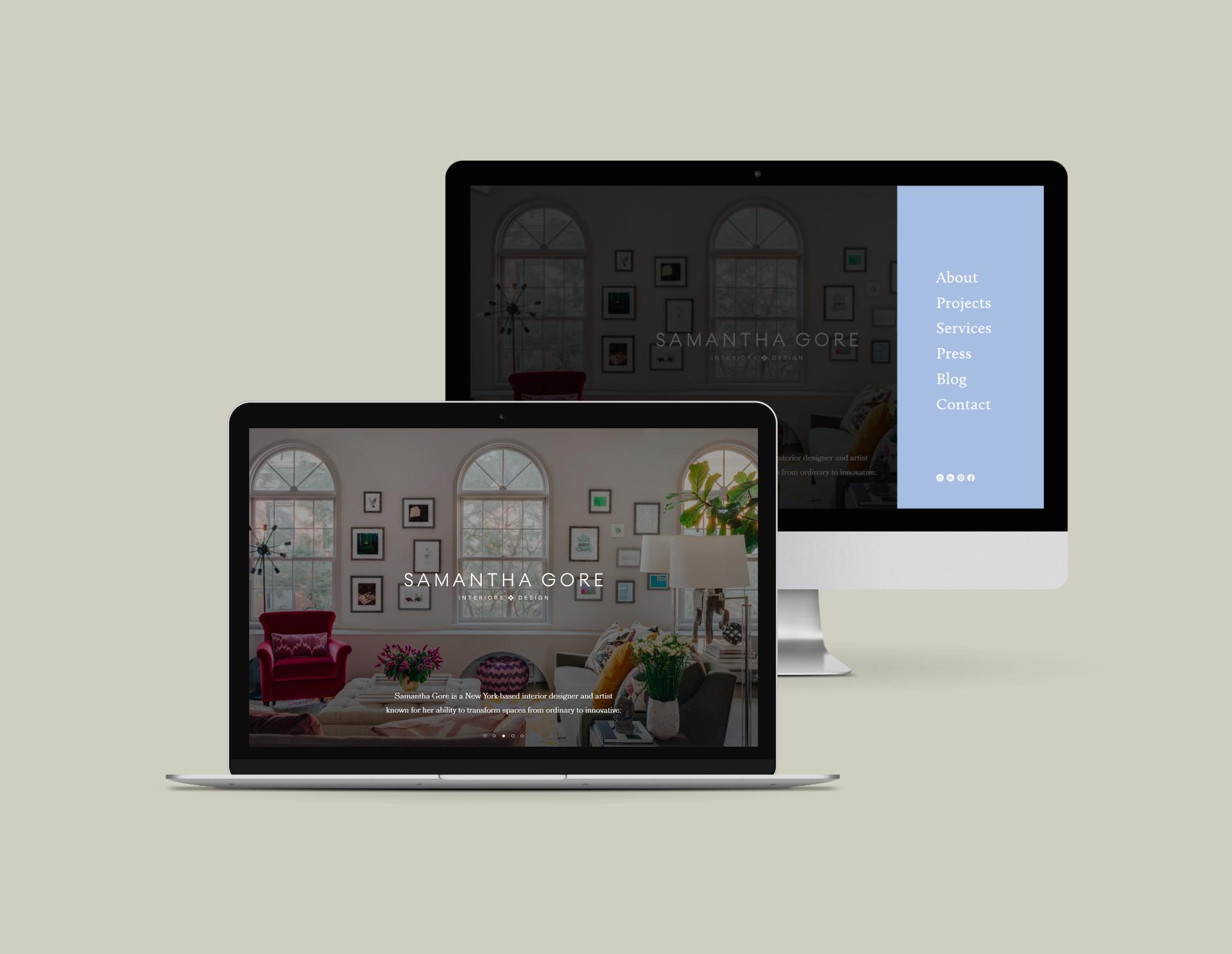 Samantha Gore Designs Website on Desktop