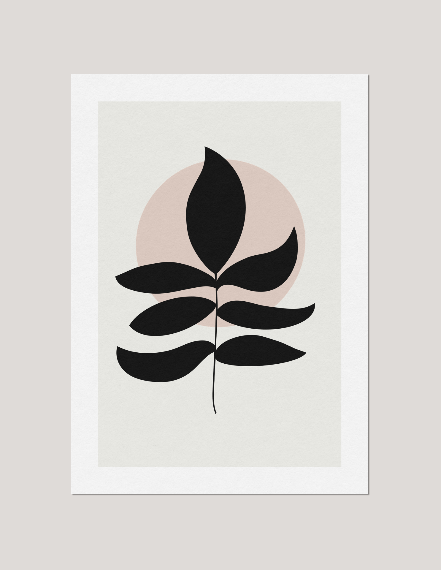 Black Fern Leaf Illustration with Muted Background