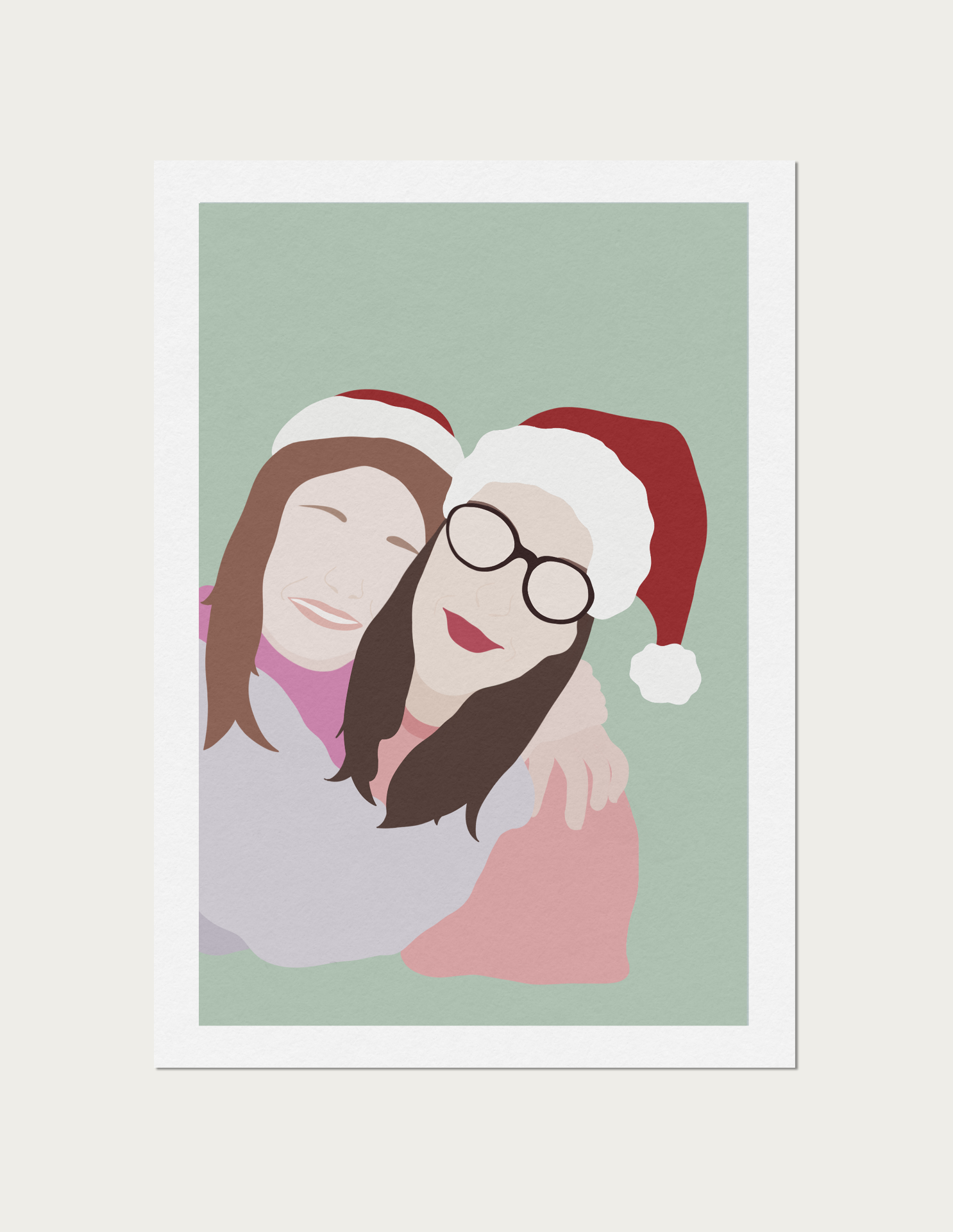 Mother and Daughter Christmas Day Illustration