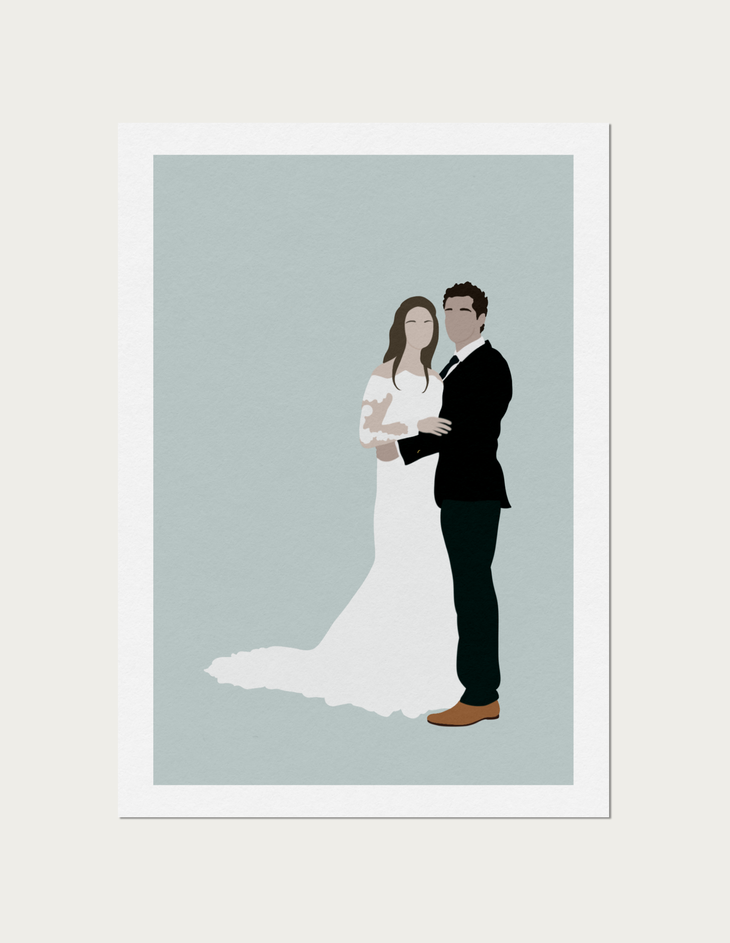 Couple of their wedding day illustration